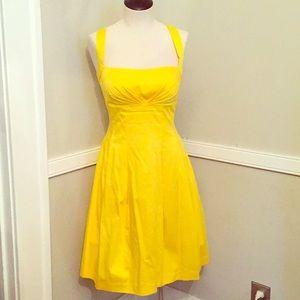 Calvin Klein yellow a line cris cross back dress